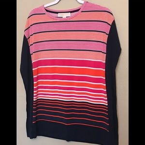 MICHEAL KORS TOP BLOUSE BRIGHT COLORS STRIPED XS